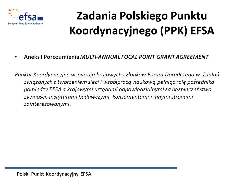 Zadania Polskiego Punktu Koordynacyjnego (PPK) EFSA