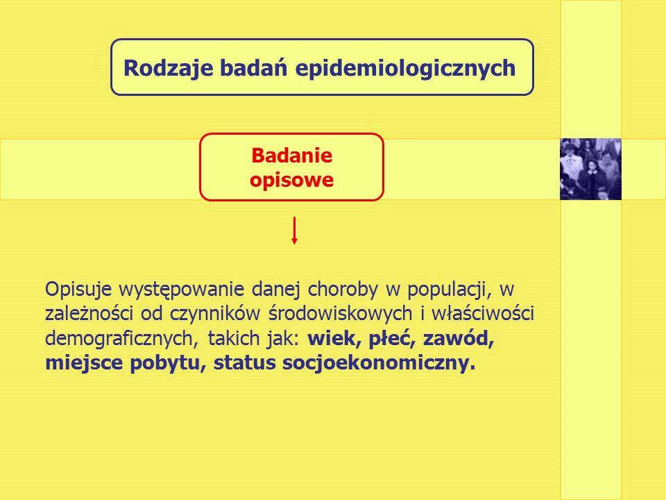 Rodzaje badań epidemiologicznych