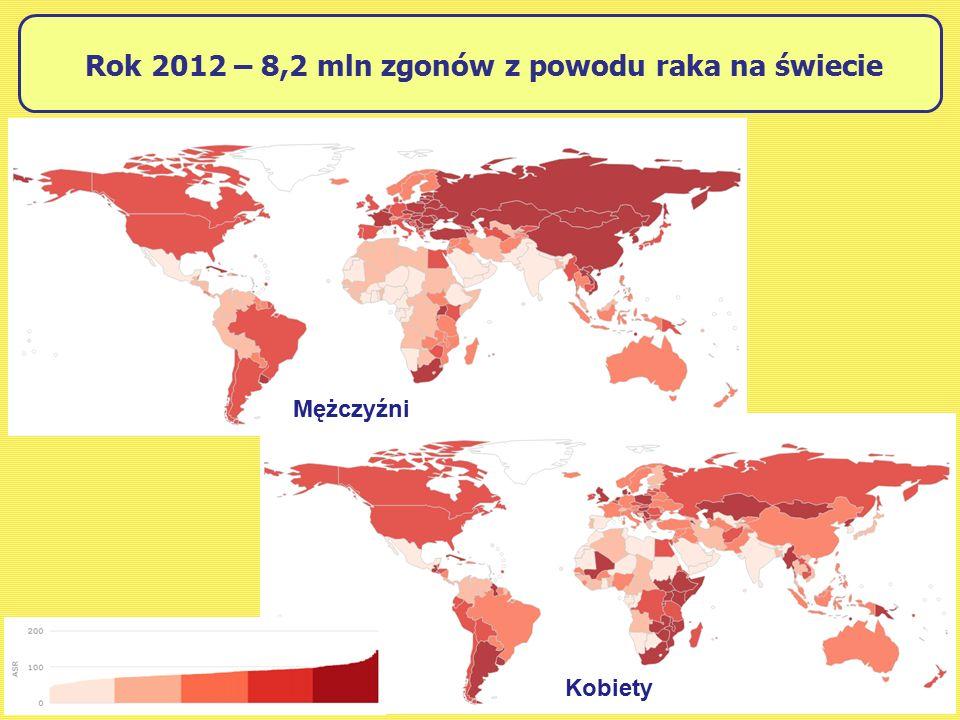 Rok 2012 – 8,2 mln zgonów z powodu raka na świecie