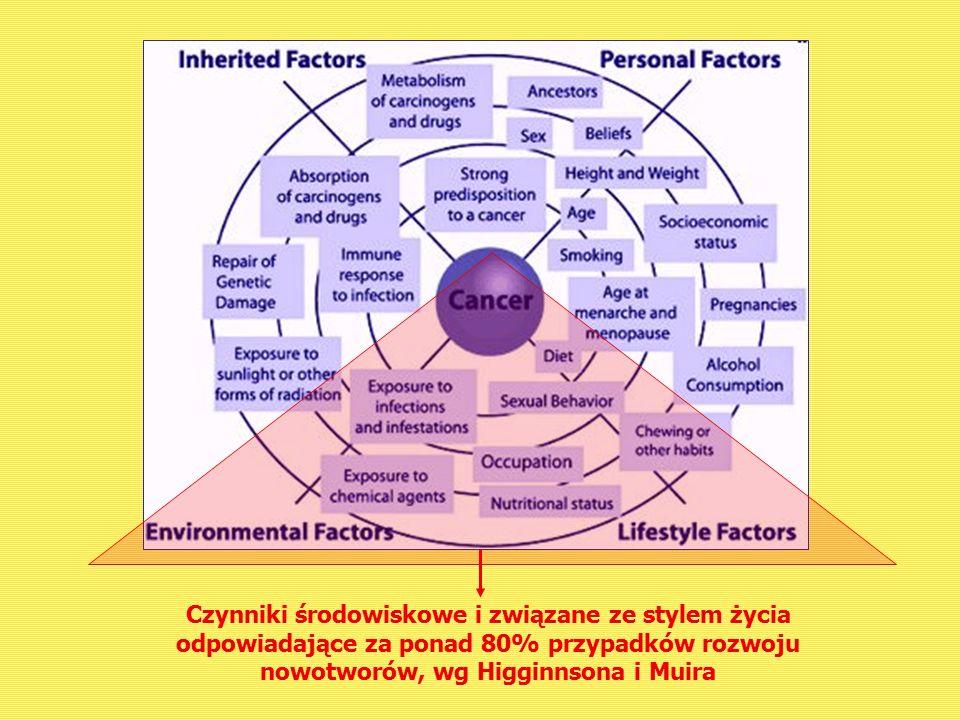 Czynniki środowiskowe i związane ze stylem życia odpowiadające za ponad 80% przypadków rozwoju nowotworów, wg Higginnsona i Muira