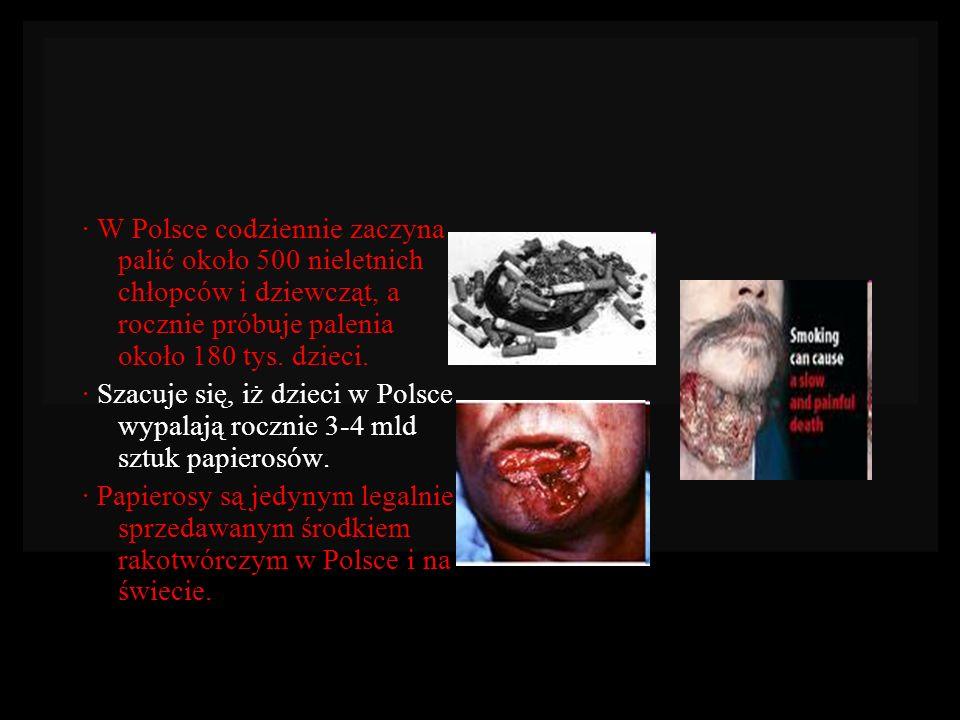 · W Polsce codziennie zaczyna palić około 500 nieletnich chłopców i dziewcząt, a rocznie próbuje palenia około 180 tys. dzieci.