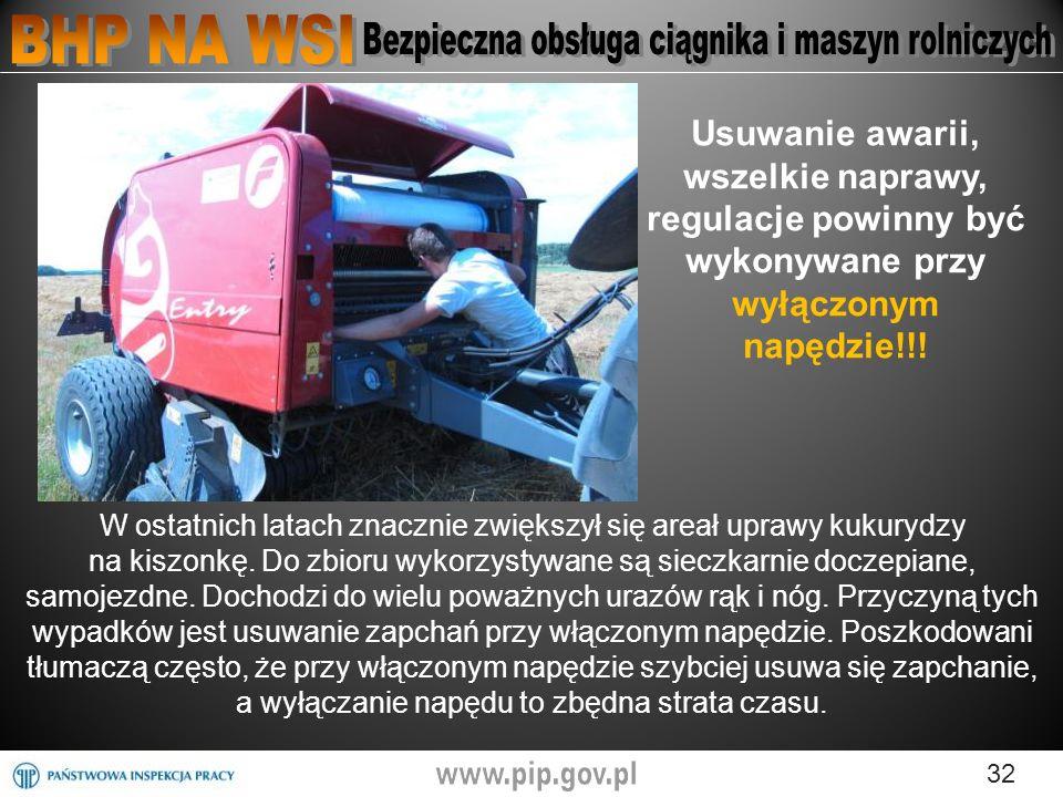 Usuwanie awarii, wszelkie naprawy, regulacje powinny być wykonywane przy wyłączonym napędzie!!!