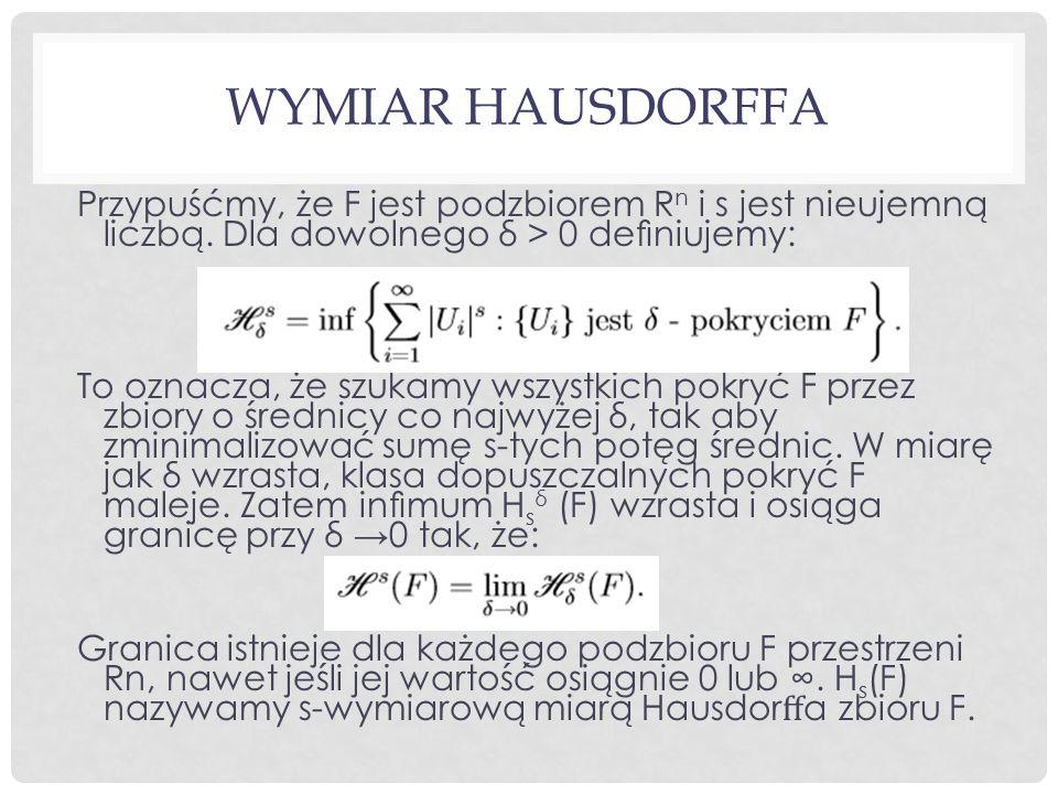 Wymiar Hausdorffa Przypuśćmy, że F jest podzbiorem Rn i s jest nieujemną liczbą. Dla dowolnego δ > 0 definiujemy: