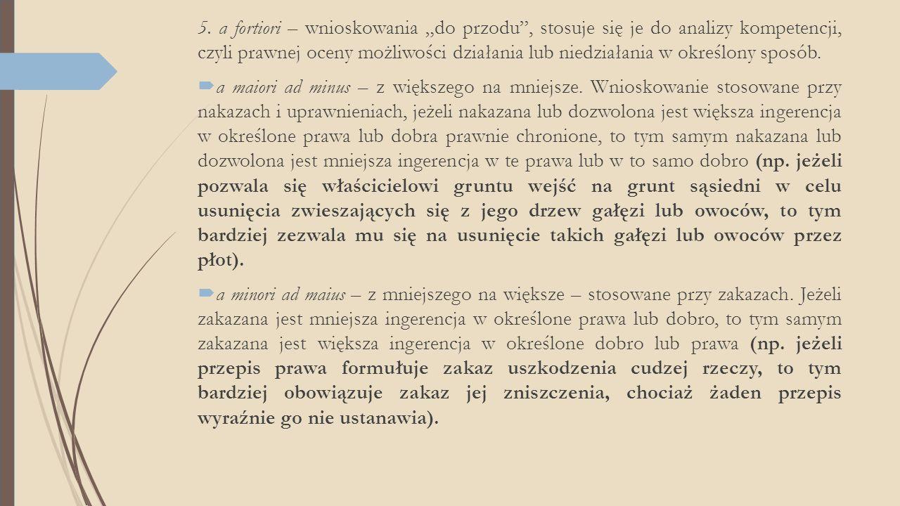 """5. a fortiori – wnioskowania """"do przodu , stosuje się je do analizy kompetencji, czyli prawnej oceny możliwości działania lub niedziałania w określony sposób."""