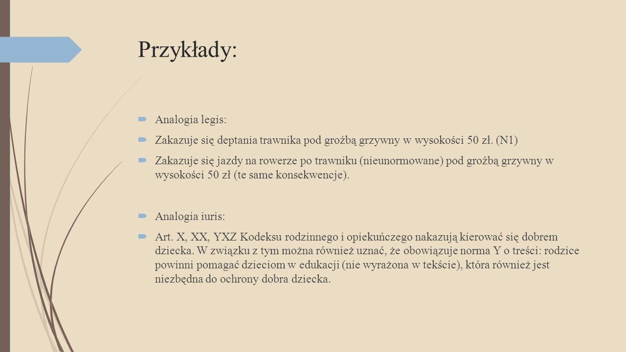 Przykłady: Analogia legis: