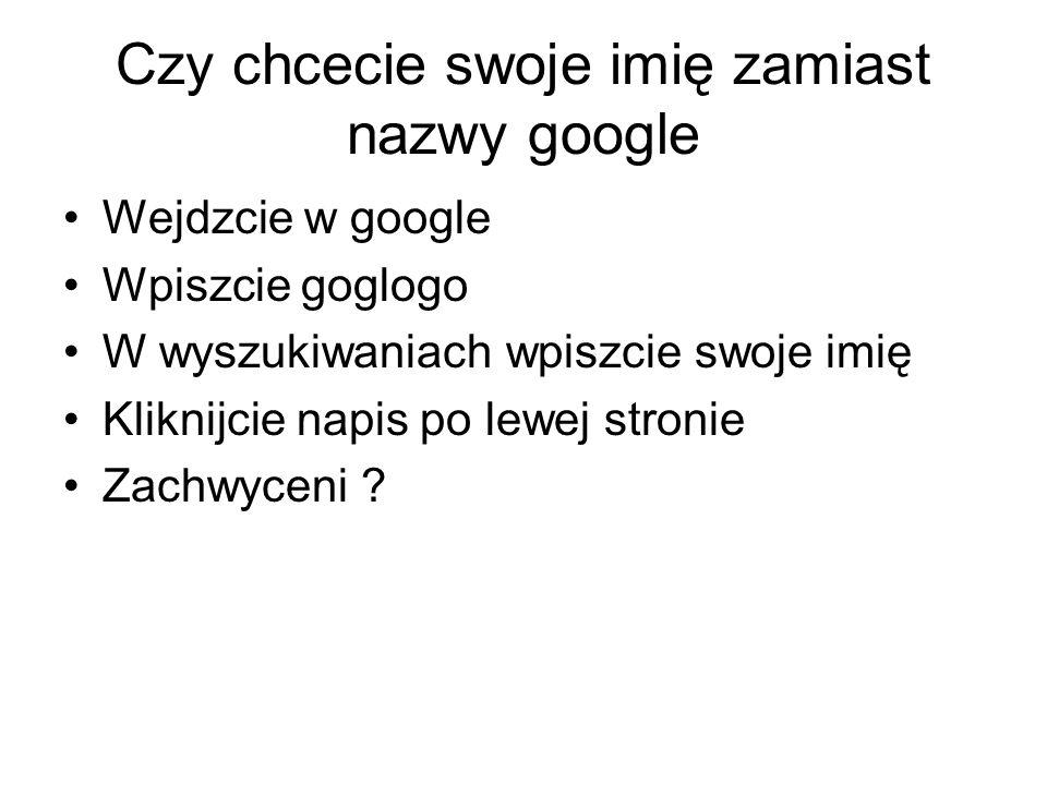 Czy chcecie swoje imię zamiast nazwy google
