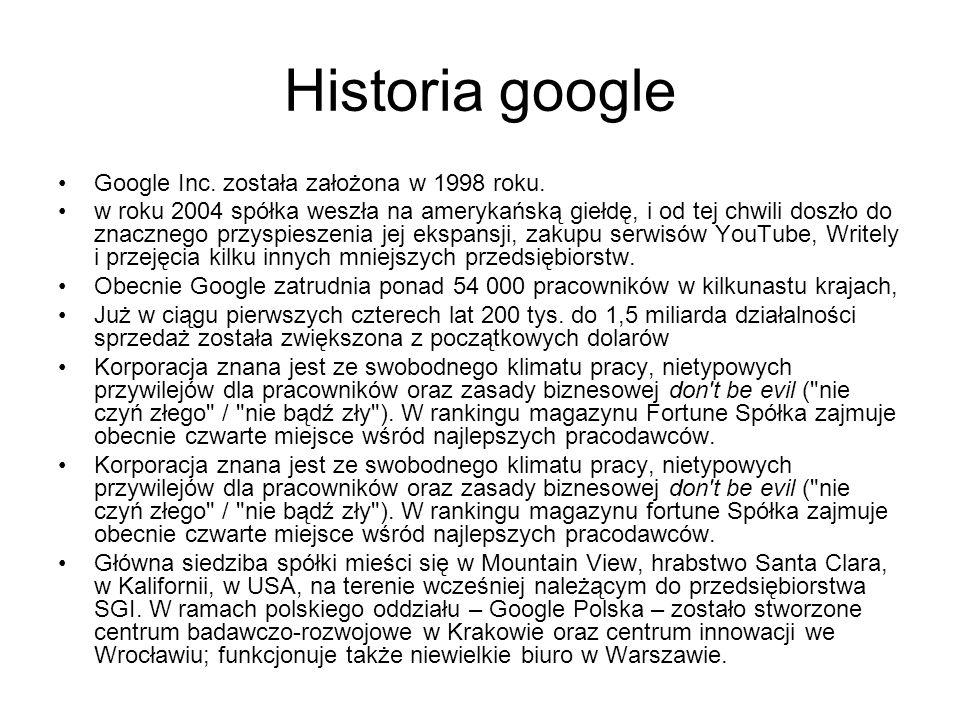 Historia google Google Inc. została założona w 1998 roku.