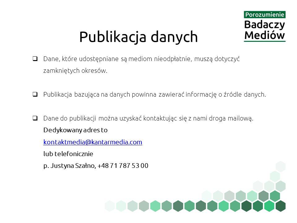 Publikacja danych Dane, które udostępniane są mediom nieodpłatnie, muszą dotyczyć zamkniętych okresów.