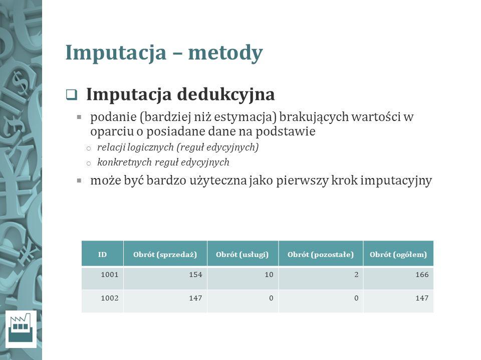 Imputacja – metody Imputacja dedukcyjna