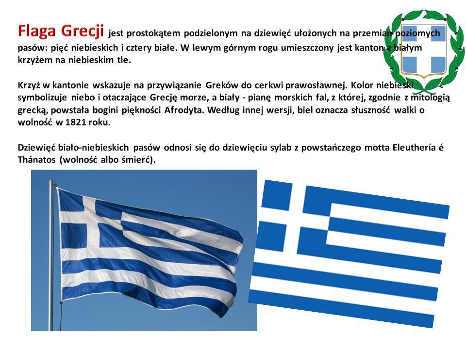 Flaga Grecji jest prostokątem podzielonym na dziewięć ułożonych na przemian poziomych pasów: pięć niebieskich i cztery białe. W lewym górnym rogu umieszczony jest kanton z białym krzyżem na niebieskim tle.