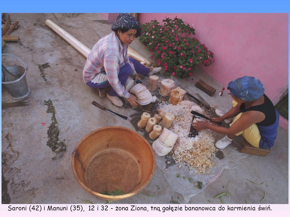 Saroni (42) i Manuni (35), 12 i 32 - żona Ziona, tną gałęzie bananowca do karmienia świń.