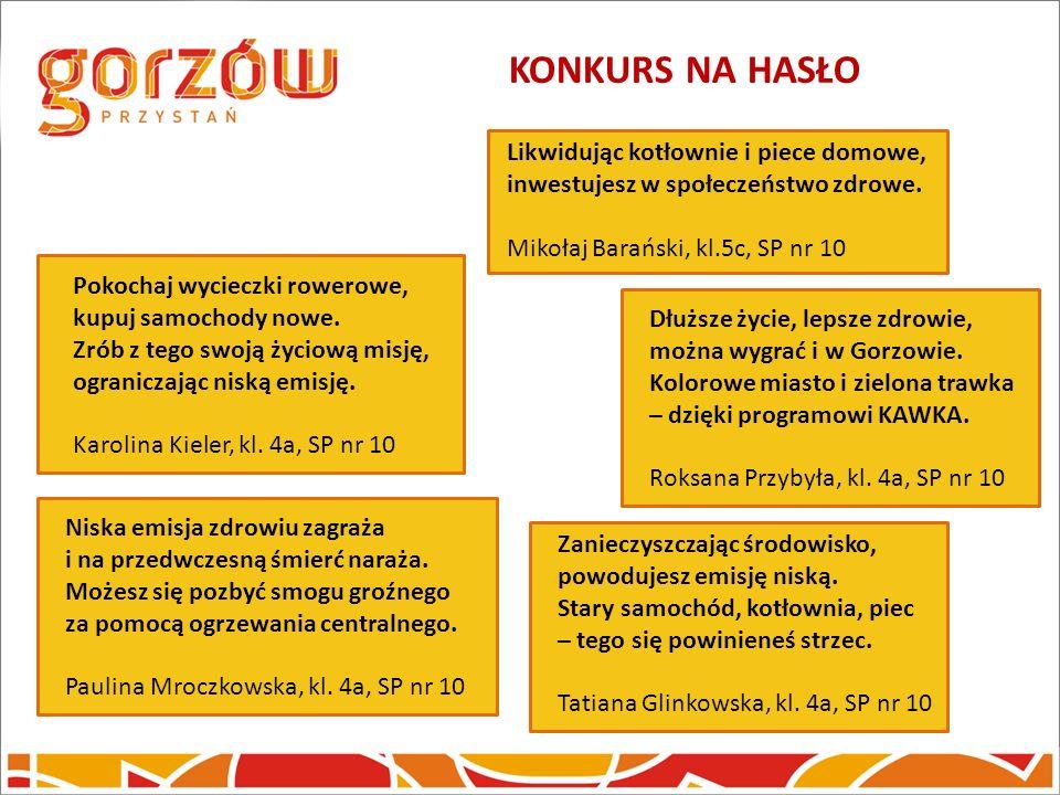 KONKURS NA HASŁO Likwidując kotłownie i piece domowe, inwestujesz w społeczeństwo zdrowe. Mikołaj Barański, kl.5c, SP nr 10.
