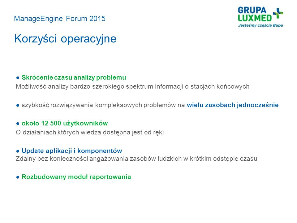 Korzyści operacyjne ManageEngine Forum 2015