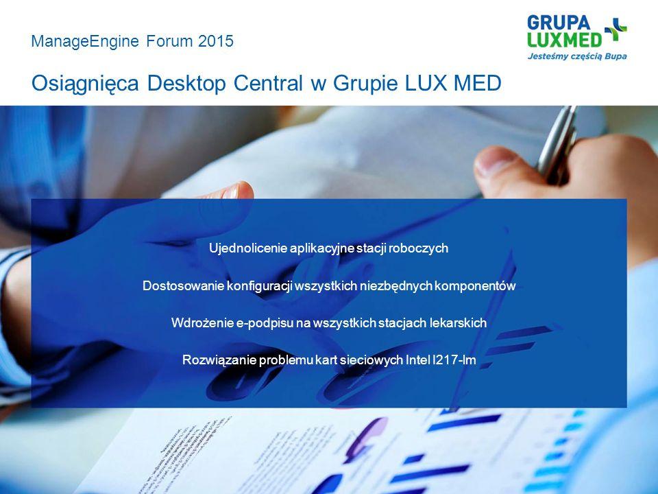 Osiągnięca Desktop Central w Grupie LUX MED