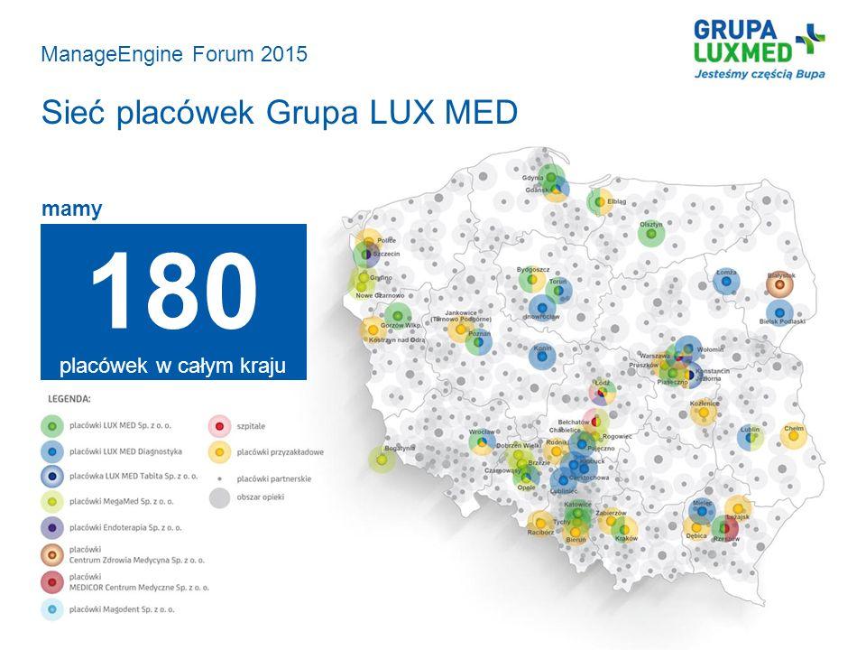 180 placówek w całym kraju Sieć placówek Grupa LUX MED
