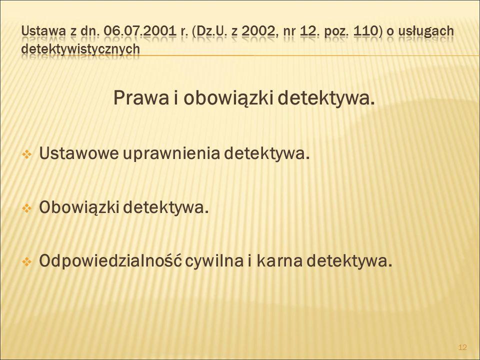 Prawa i obowiązki detektywa.