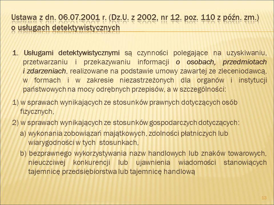 Ustawa z dn. 06.07.2001 r. (Dz.U. z 2002, nr 12. poz. 110 z późn. zm.) o usługach detektywistycznych