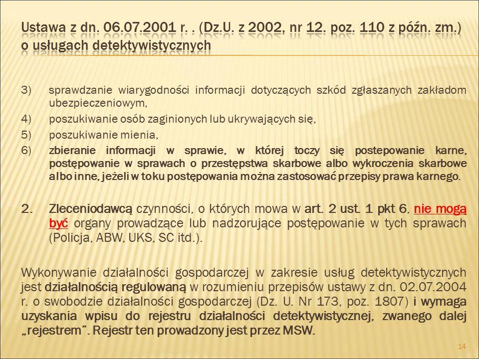 Ustawa z dn. 06.07.2001 r. . (Dz.U. z 2002, nr 12. poz. 110 z późn. zm.) o usługach detektywistycznych