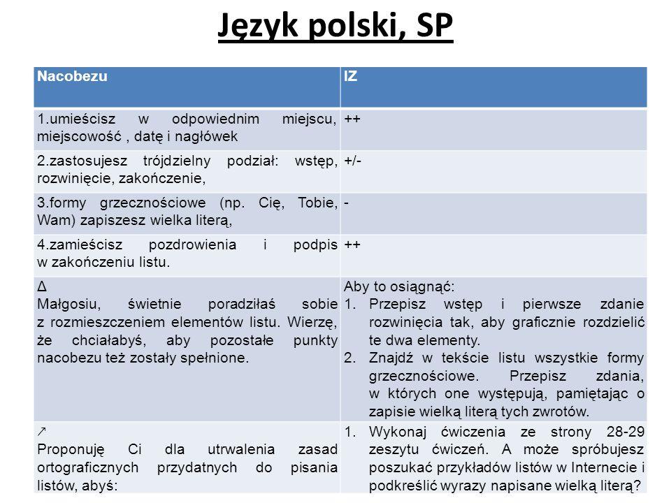 Język polski, SP Nacobezu IZ