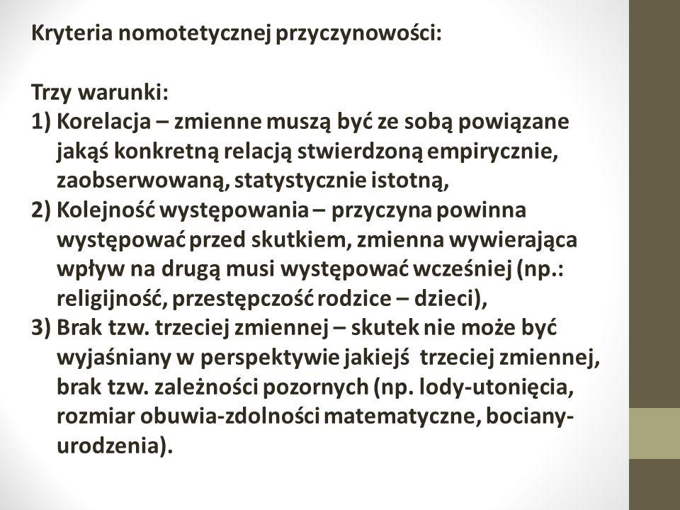 Kryteria nomotetycznej przyczynowości: