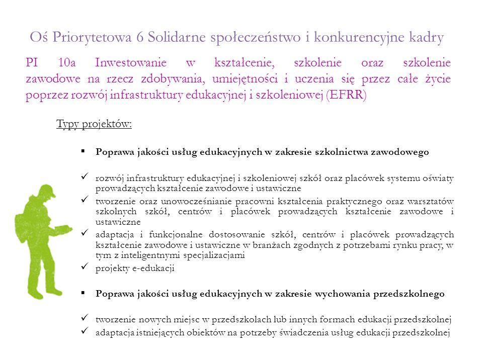 Oś Priorytetowa 6 Solidarne społeczeństwo i konkurencyjne kadry