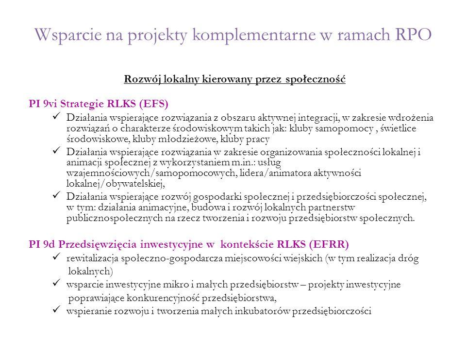 Wsparcie na projekty komplementarne w ramach RPO