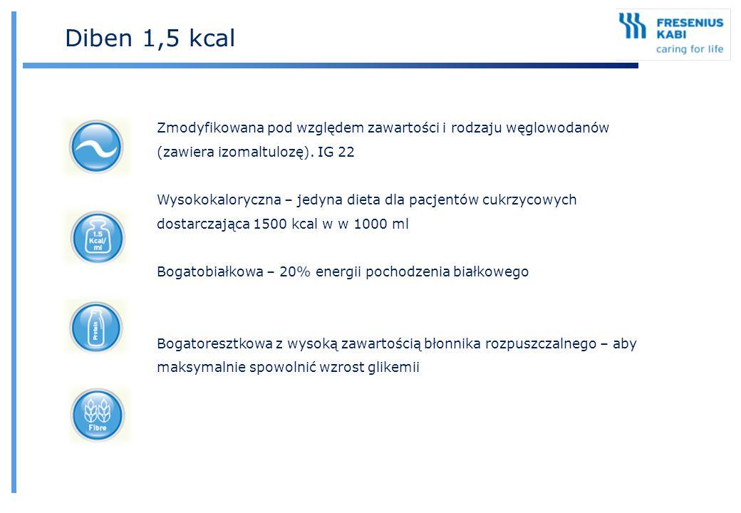 Diben 1,5 kcal Zmodyfikowana pod względem zawartości i rodzaju węglowodanów (zawiera izomaltulozę). IG 22.