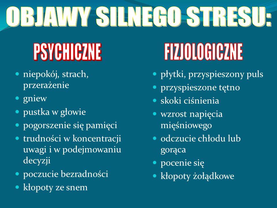 OBJAWY SILNEGO STRESU: