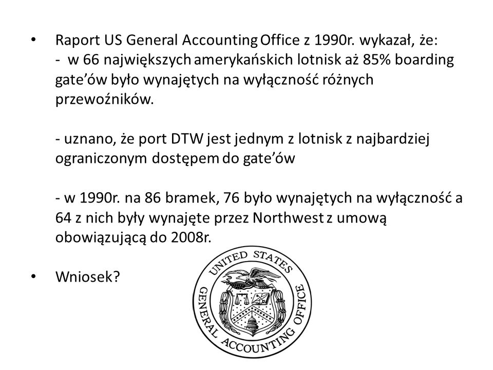 Raport US General Accounting Office z 1990r