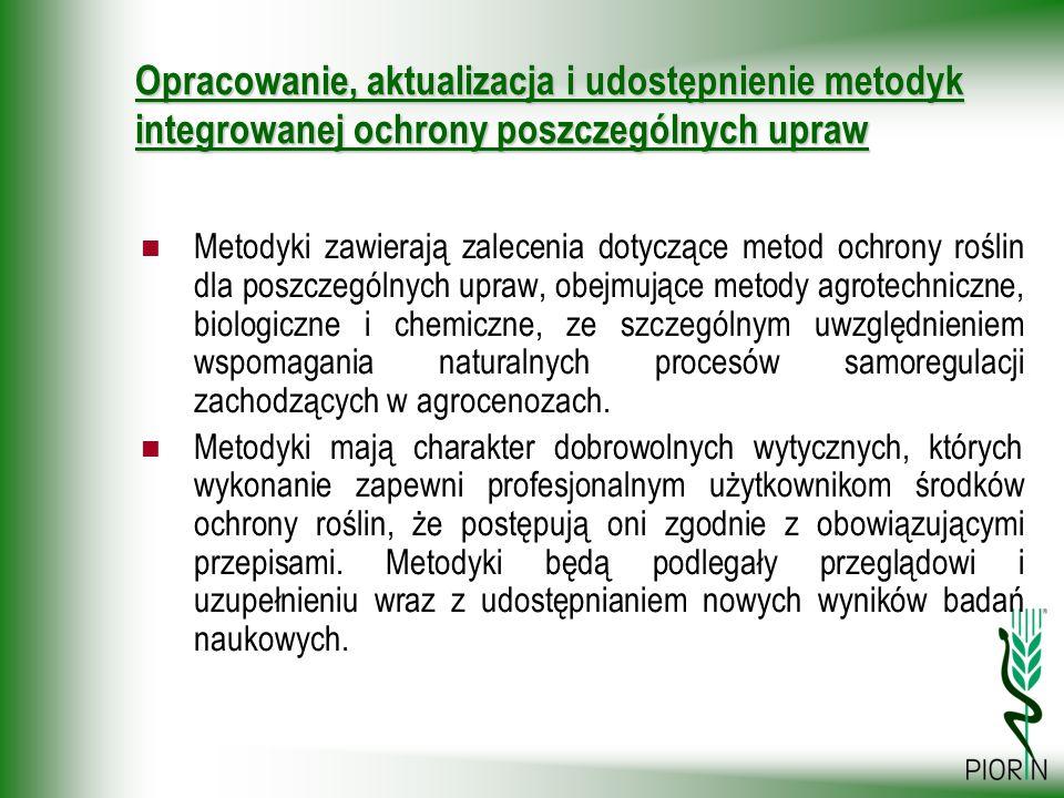 Opracowanie, aktualizacja i udostępnienie metodyk integrowanej ochrony poszczególnych upraw