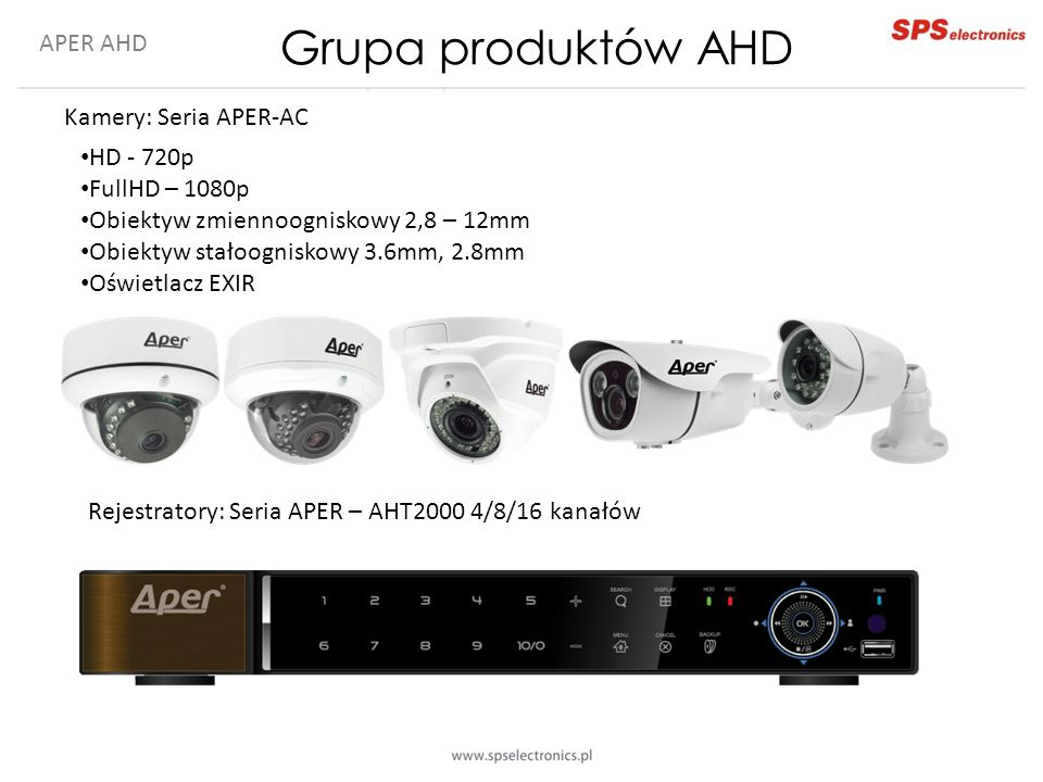 Grupa produktów AHD APER AHD Kamery: Seria APER-AC HD - 720p