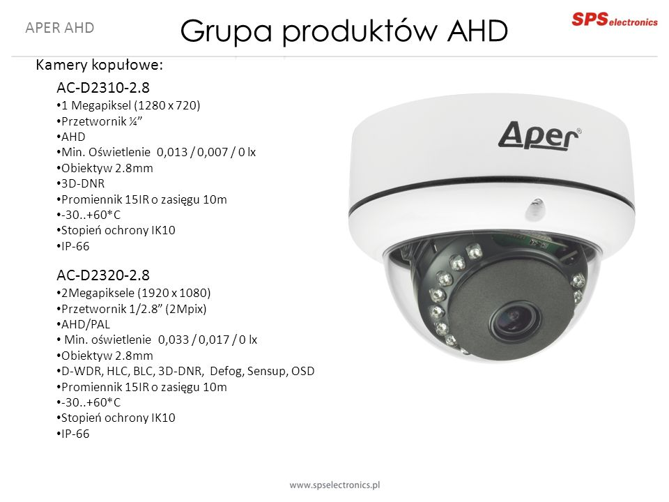 Grupa produktów AHD APER AHD Kamery kopułowe: AC-D2310-2.8