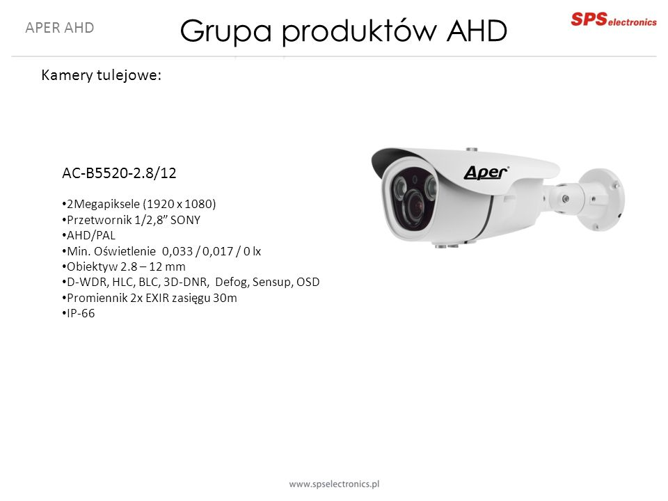 Grupa produktów AHD APER AHD Kamery tulejowe: AC-B5520-2.8/12