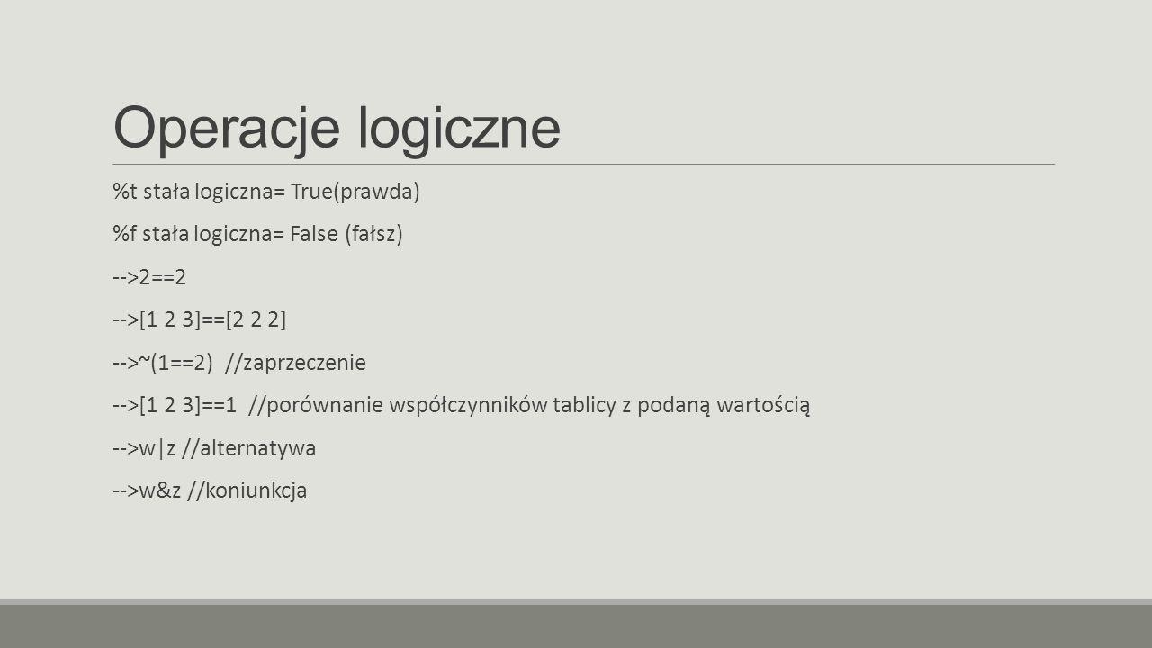 Operacje logiczne %t stała logiczna= True(prawda)