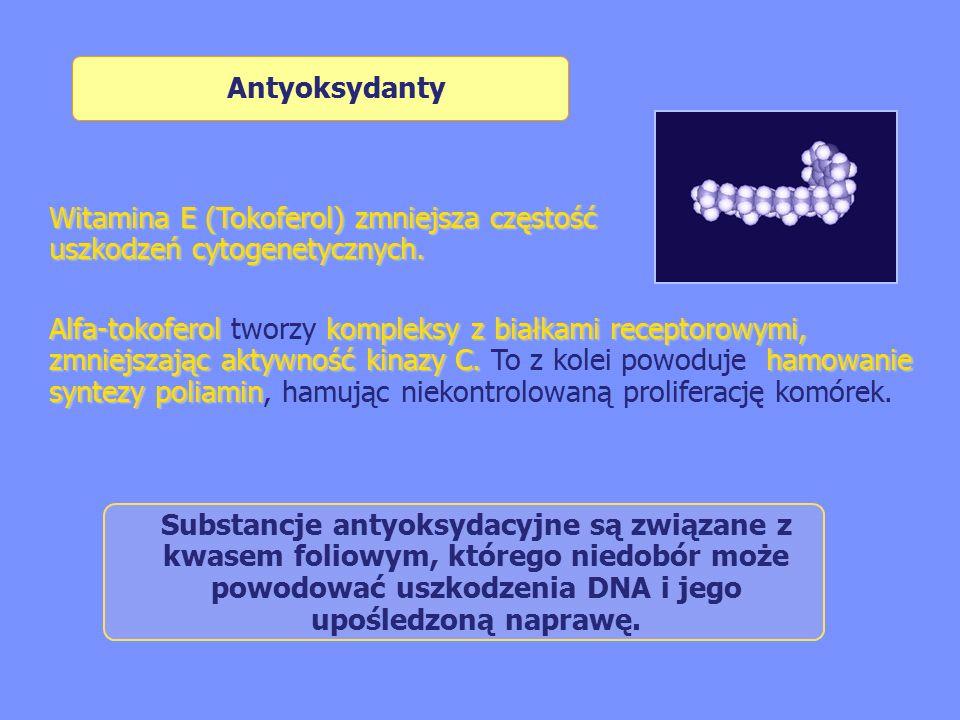 Antyoksydanty Witamina E (Tokoferol) zmniejsza częstość uszkodzeń cytogenetycznych.