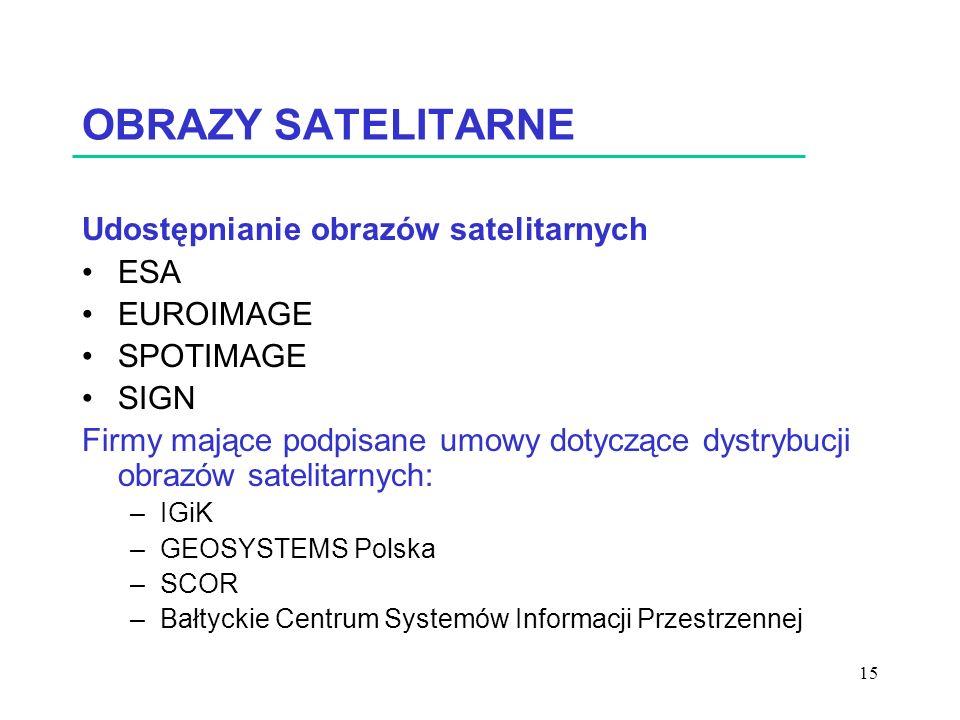 OBRAZY SATELITARNE Udostępnianie obrazów satelitarnych ESA EUROIMAGE