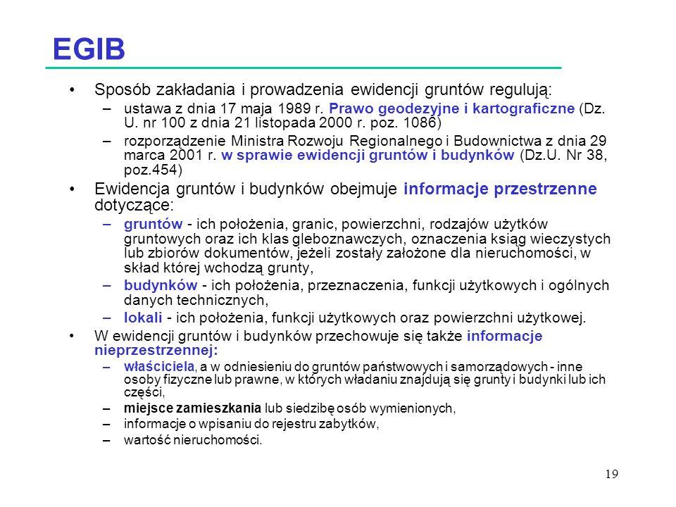 EGIB Sposób zakładania i prowadzenia ewidencji gruntów regulują: