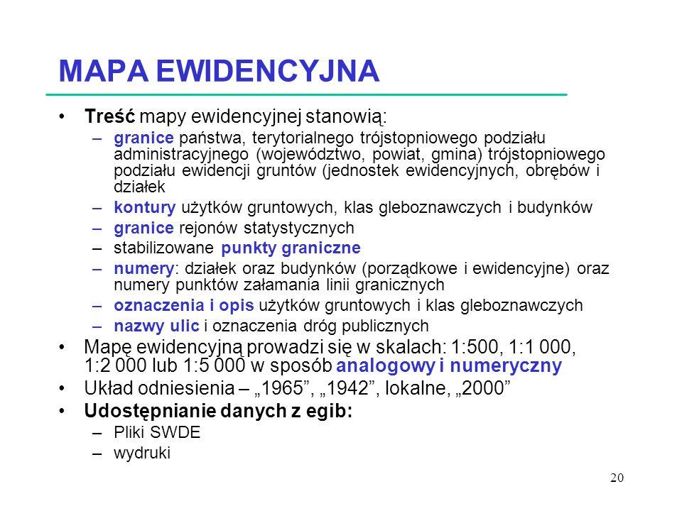 MAPA EWIDENCYJNA Treść mapy ewidencyjnej stanowią: