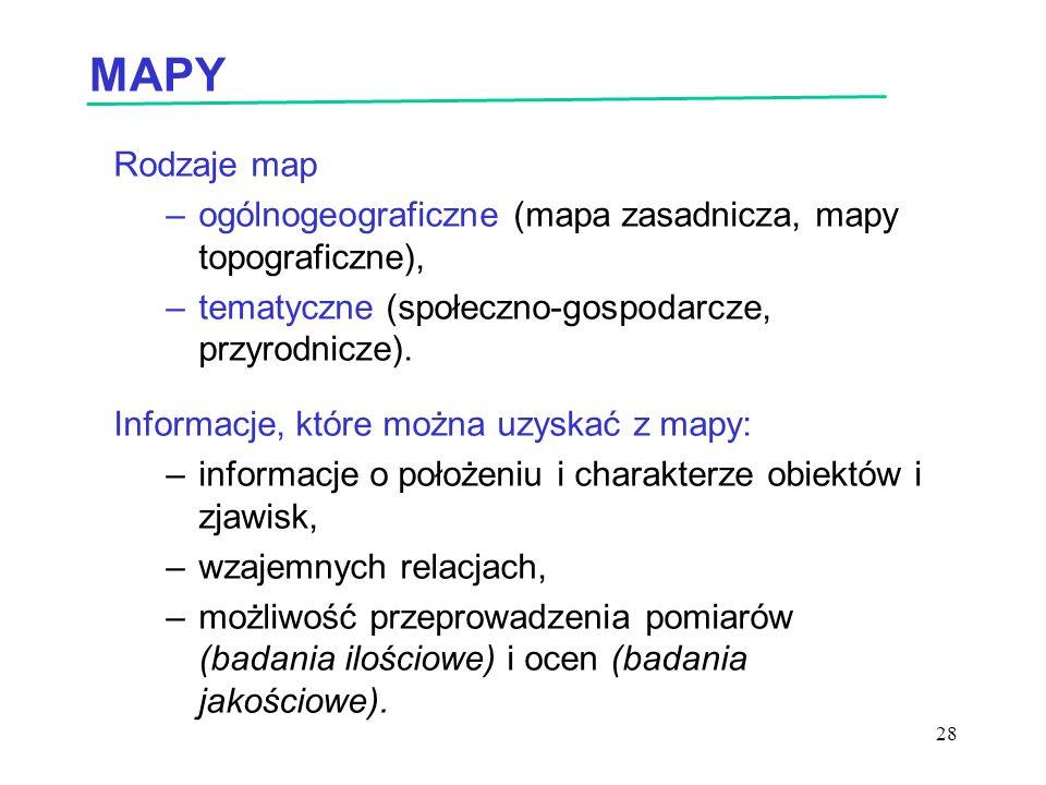 MAPY Rodzaje map. ogólnogeograficzne (mapa zasadnicza, mapy topograficzne), tematyczne (społeczno-gospodarcze, przyrodnicze).