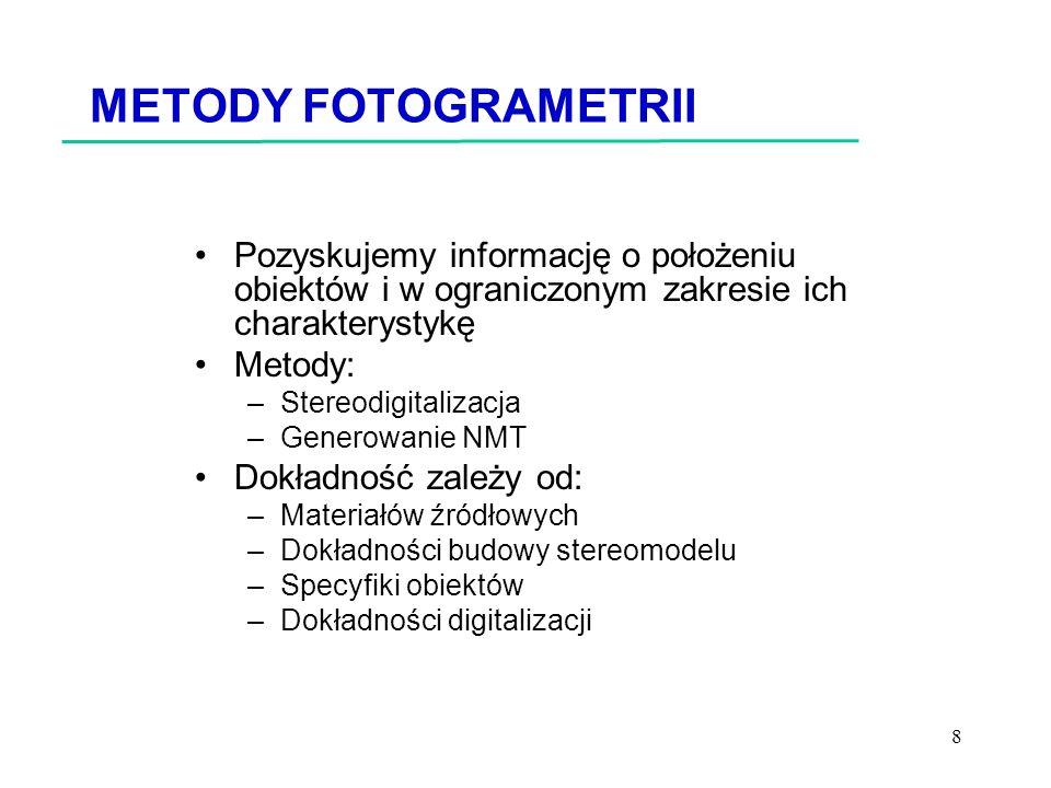 METODY FOTOGRAMETRII Pozyskujemy informację o położeniu obiektów i w ograniczonym zakresie ich charakterystykę.