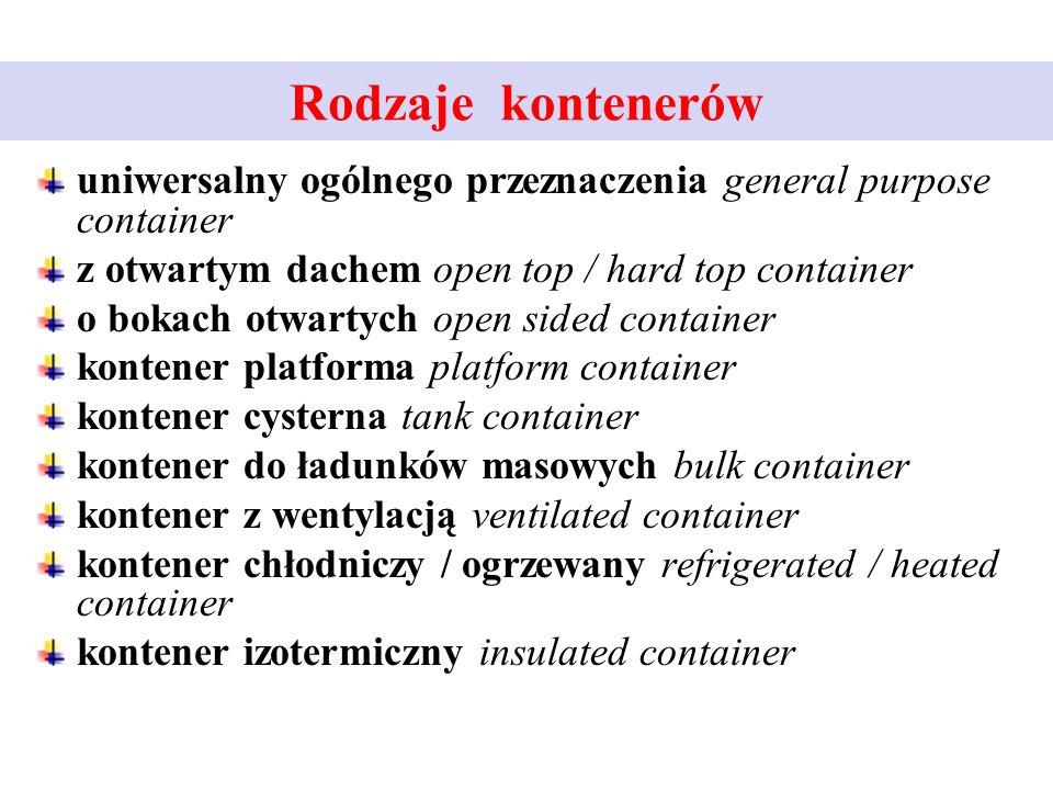 Rodzaje kontenerów uniwersalny ogólnego przeznaczenia general purpose container. z otwartym dachem open top / hard top container.