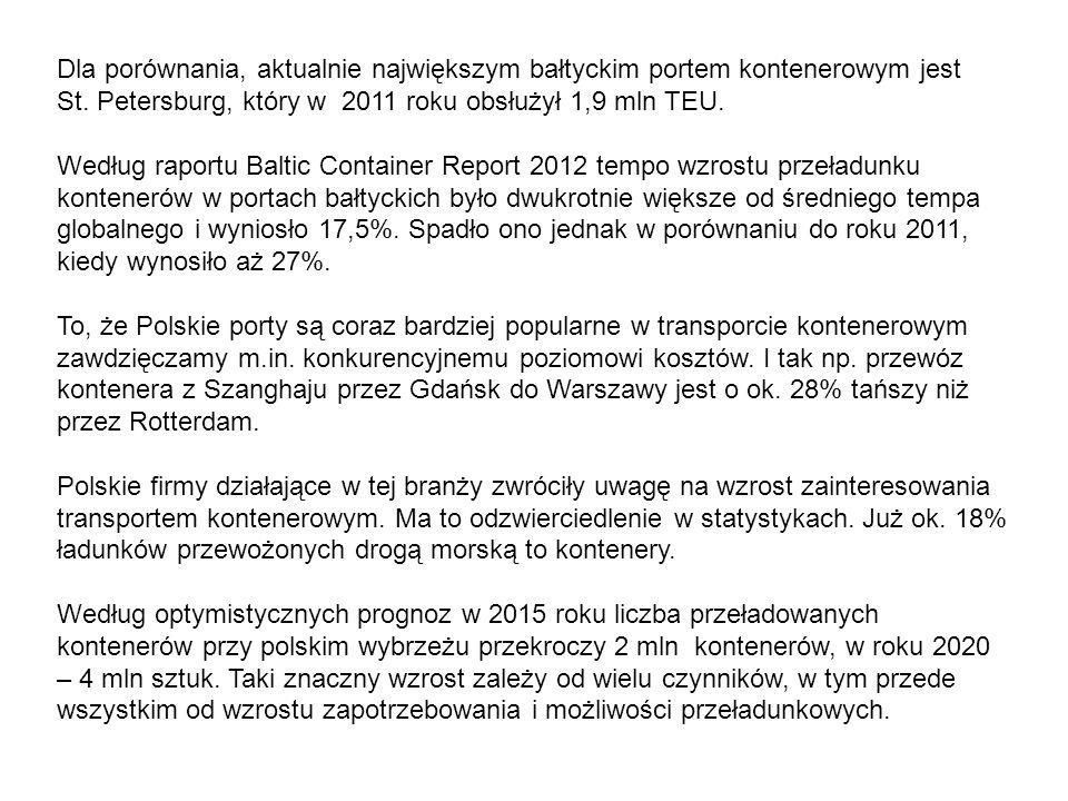 Dla porównania, aktualnie największym bałtyckim portem kontenerowym jest St. Petersburg, który w 2011 roku obsłużył 1,9 mln TEU.