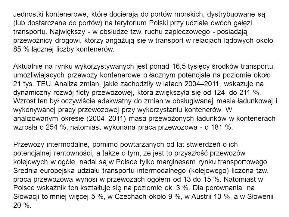 Jednostki kontenerowe, które docierają do portów morskich, dystrybuowane są (lub dostarczane do portów) na terytorium Polski przy udziale dwóch gałęzi transportu. Największy - w obsłudze tzw. ruchu zapleczowego - posiadają przewoźnicy drogowi, którzy angażują się w transport w relacjach lądowych około 85 % łącznej liczby kontenerów.