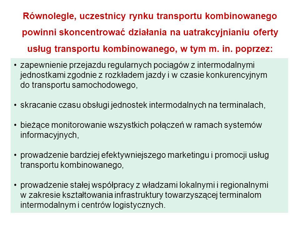 Równolegle, uczestnicy rynku transportu kombinowanego powinni skoncentrować działania na uatrakcyjnianiu oferty usług transportu kombinowanego, w tym m. in. poprzez: