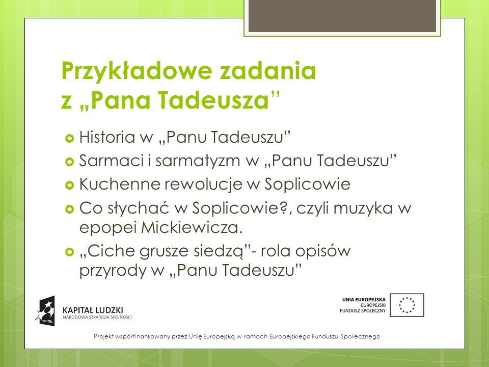 """Przykładowe zadania z """"Pana Tadeusza"""