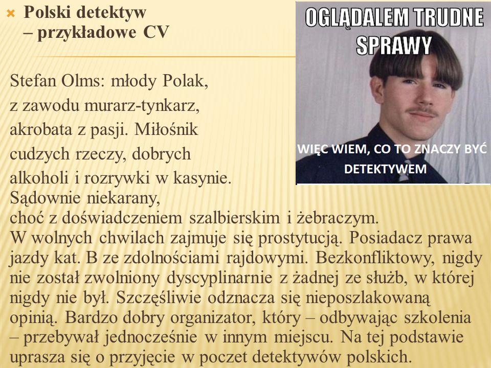 Polski detektyw – przykładowe CV