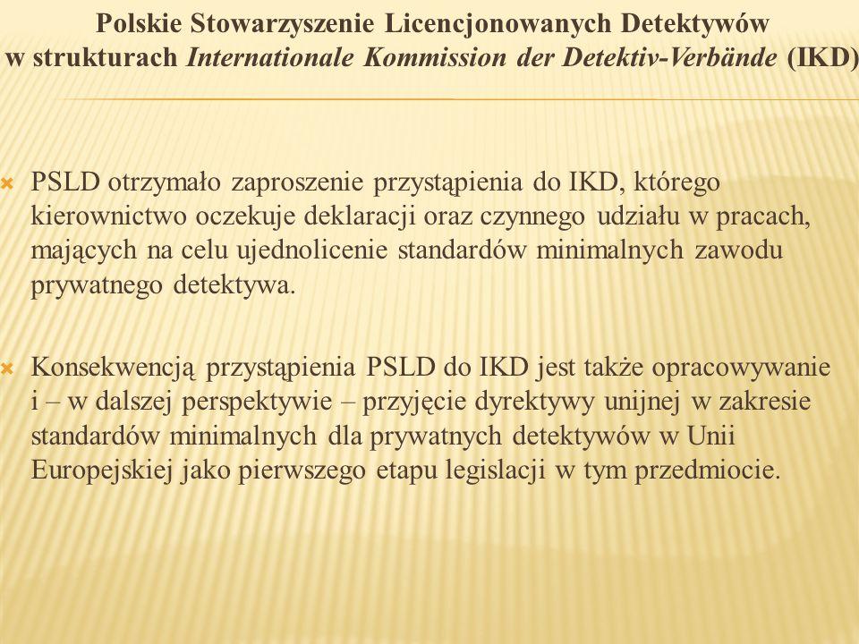 Polskie Stowarzyszenie Licencjonowanych Detektywów w strukturach Internationale Kommission der Detektiv-Verbände (IKD)