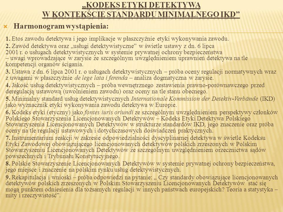 """""""Kodeks etyki detektywa w kontekście standardu minimalnego IKD"""