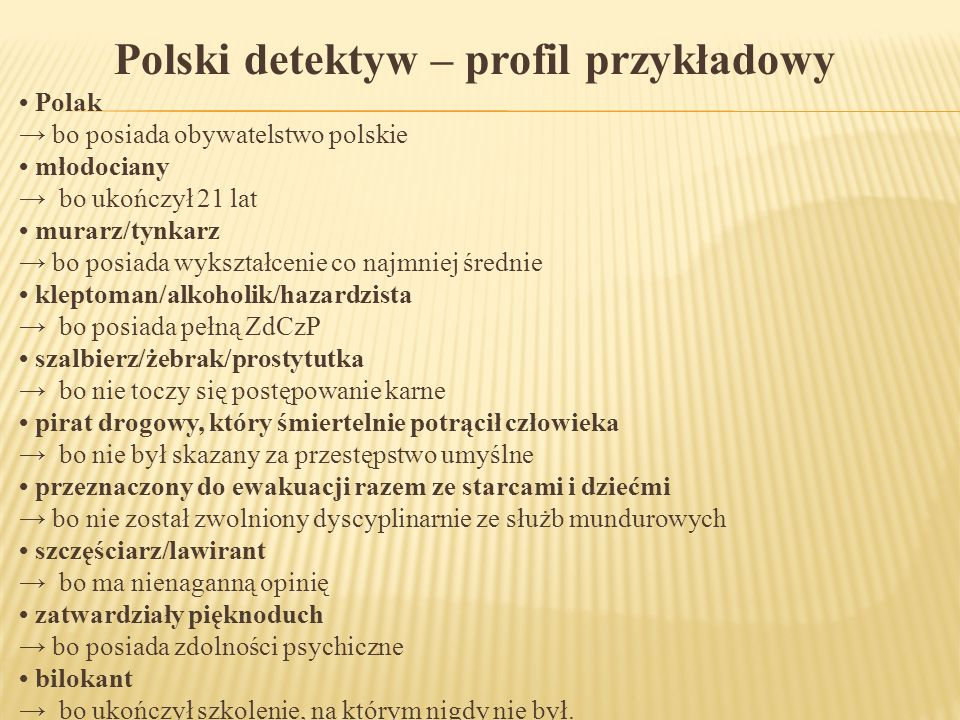 Polski detektyw – profil przykładowy