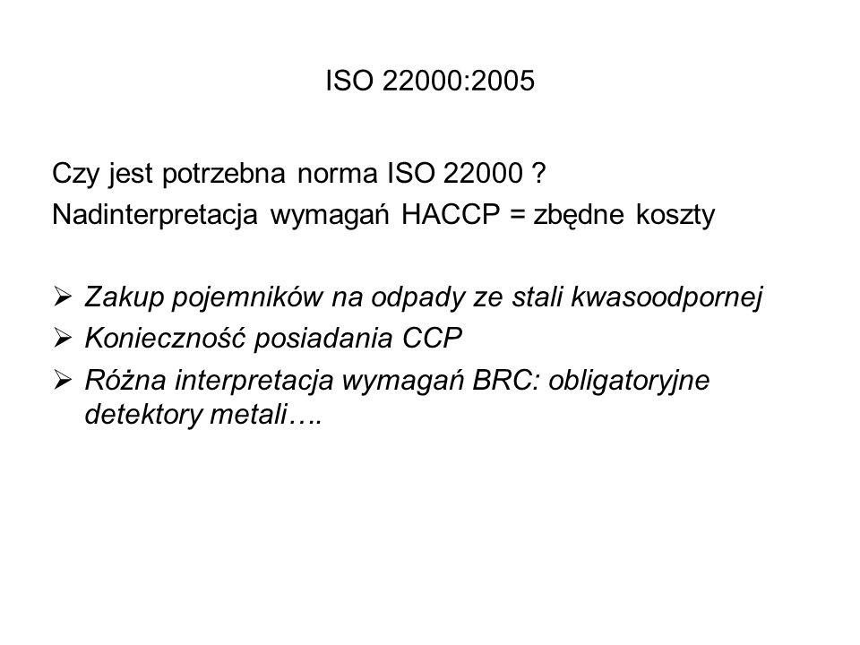 ISO 22000:2005 Czy jest potrzebna norma ISO 22000 Nadinterpretacja wymagań HACCP = zbędne koszty.
